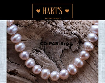 Pink Cultured Pearl Strand Necklace Silk Hand Knotted  CO-PAB-8x9.5
