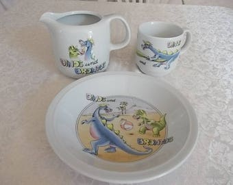 Vintage Colditz Porcelain Dinos and Brontos set.