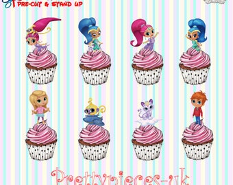24 x Shimmer & Shine Stand-Up Pre-Cut Wafer Paper Cupcake Toppers