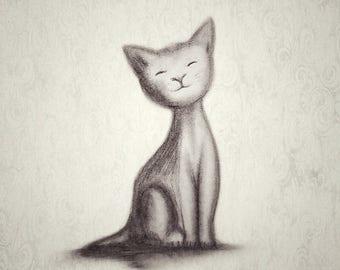 Cat Art, Cat Print, Cat Illustration, Cat Lovers Gift, Cute Cat Drawing, Nursery Art, Nursery Prints, Illustration, Animal Art, Cat Picture