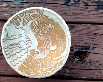 Story Bowl - Fairy Tales and Fables in a handmade ceramic bowl, pottery, sgraffito carved pinchpot, illustrated dish, landscape, fable