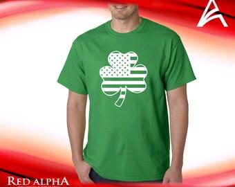 St. Patricks Day 4 Leaf Clover with United States Flag inside