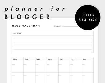 Blogger Planner | Blog Calendar | Letter, A4 size (Printable!)