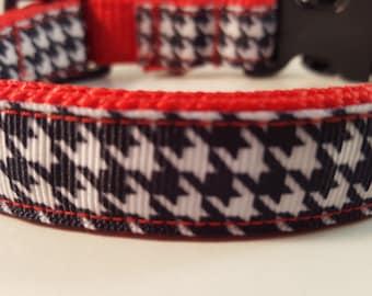 Red Medium Adjustable Dog Collar on Black & White Houndstooth Pattern, Red Dog Collar, Custom Dog Collar, Red Wht Black Dog Collar