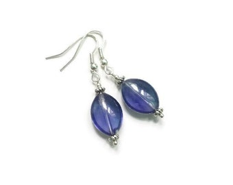 Cobalt Blue Glass Oval Earrings / Silver French Hooks / Blue Glass Earrings / Blue Dangle Drop Earrings / Blue Lover Jewelry Gift