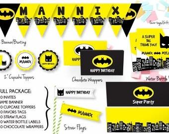 Batman Full Party Package + Invites/Batman Matching Party Package/Custom Party Package