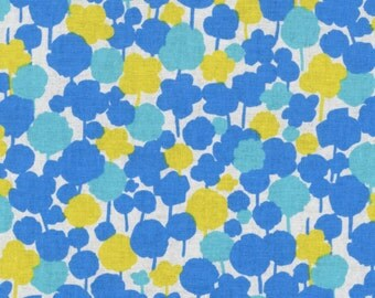 Floral Fabric | Tree Print | Japanese Import Fabric | Kokka | Blue and Yellow Flowers | Irome | Seven Islands | Pretty Floral | Modern