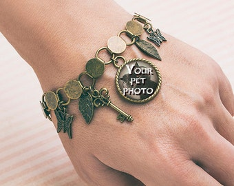 Antique Bronze Photo Custom Bracelet, Pet Custom Bracelet Pet Lover Gift Jewelry