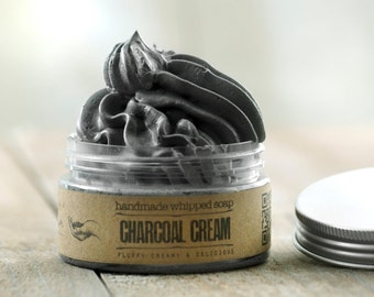 ACTIVATED CHARCOAL CREAM Whipped Soap • Detoxifing, extremely versatile vegan whipped cream soap.