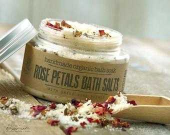 Rose Petals BATH SALTS • with Rosehip and Himalayan pink salt for a spa relaxation bath soak ritual.