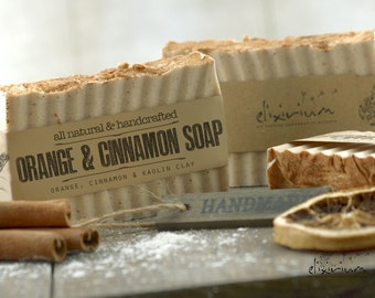 ORANGE & CINNAMON SOAP • With Kaolin Clay and cinnamon, a rustic, vegan, handmade soap for organic skin care.
