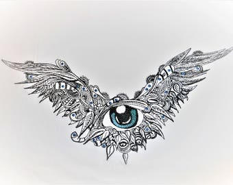 Sotis flying eye an embroidery file for the frame size 16 x 26 cm