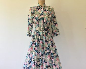 80's Navy & Pink Rose Floral Long Sleeve Dress with Belted Waist