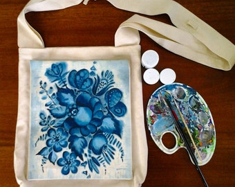 Fabric crossbody bag hand painted Blue flowers art bag crossbody hobo canvas bag painting crossbody purse canvas tote, FREE SHIPPING