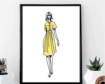 Fashion Girl with A Yellow Dress Print // Minimalist // Wall Art // Office DIY // Scandinavian // Modern Office // Fashion // Makeup