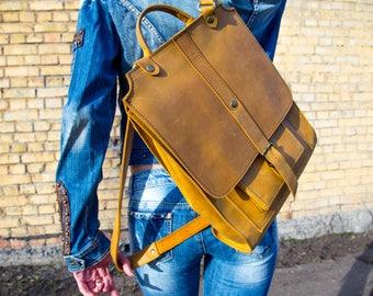 Handmade backpack men backpack college backpack school backpack leather backpack women backpack yellow backpack  big rucksack