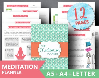 "Meditation planner printable: ""MINDFULNESS JOURNAL"" Weekly Gratitude Journal Inspiring Affirmation Intentions Daily Journal A5 Insert Binder"