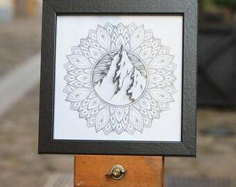 Framed print - mountains & Mandalas - Format 14 x 14 cm