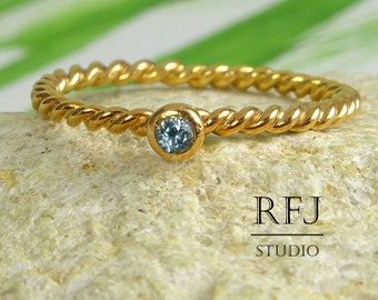 Natural Swiss Topaz Rose Gold Rope Ring, December Birthstone 14K Rose Gold Plated Ring 2 mm Round Cut Swiss Blue Topaz Twisted 14K Gold Ring