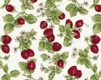 """Fruit Fabric, Strawberry Fabric: David Textile  Strawberries with leaves and Flowers on White 100% cotton Fabric by the yard 36""""x43"""" (DA52)"""