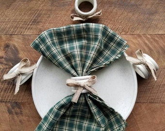 Primitive, White Napkin Rings, Rustic, Kitchen, Dining, Place Setting, Distressed, Wood