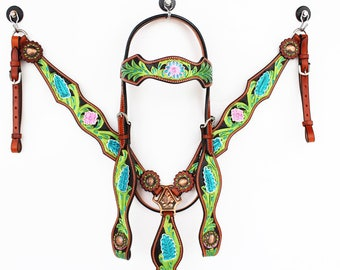 Handmade Western Barrel Trail Horse Green Black Hand Painted Leather Show Bridle Headstall Breast Collar Tack Set Made To Order