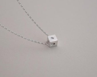 cube necklace silver necklace everyday necklace bridesmaid necklace Christmas necklace