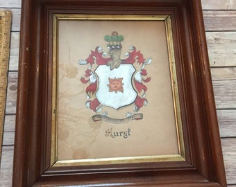 Vintage Solid Wood Shadow Box Style Frame, Hurst Family Crest