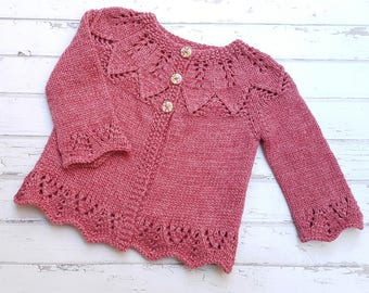 Little Cardigan - Hand Knitted - Size 0 - Bamboo/Merino Mix