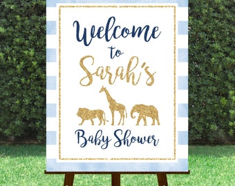 Welcome Baby Shower Sign, Baby Shower Signage, Safari, Light Blue and Gold, watercolor, lion, elephant, giraffe, welcome to, 042