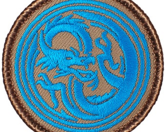 Blue Chinese Dragon Patch (554) 2 Inch Diameter Embroidered Patch