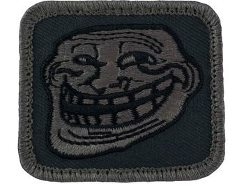 "Tactical Troll Face Patch (With Velcro) SWAT Colors (L18) 1.75"" x 2"""