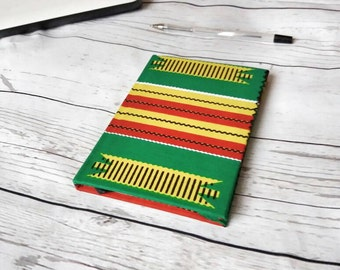 A6 hardback green kente african wax print notebook/note taking/ journal writing/ work notes/minute taking/ gift idea/ankara notebook