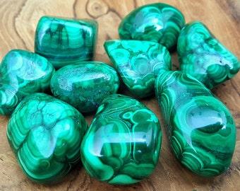 Polished Malachite Crystal Tumbled Stones - 414