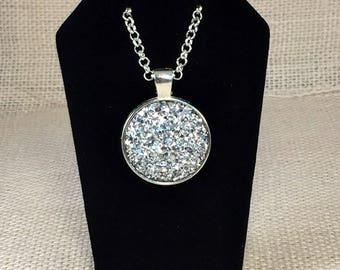 Silver Druzy Necklace - Drusy Necklace - Bridesmaid Gift - Necklace Druzy Jewelry - Statement Necklace - Druzy Pendant - wedding - Prom