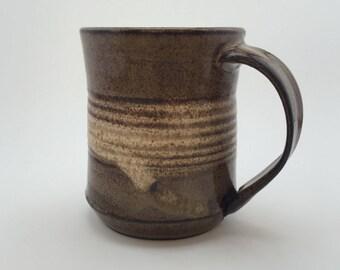 Tan and White Stoneware Mug