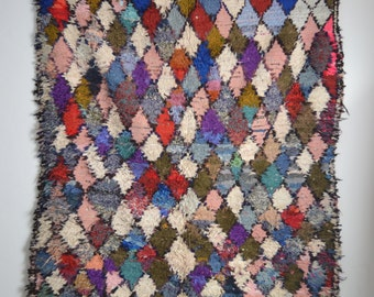 Boucherouite rug | Boucherouite | rag rug | berber rug | teppich | geometric rugs | Moroccan rug | colorful rug F13