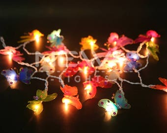 20 Colorful Butterfly Bug Fairy Lights Indoor String Lights Christmas Lights Gift Bedroom Nursery Patio Garden Party Wall Hanging Home Decor