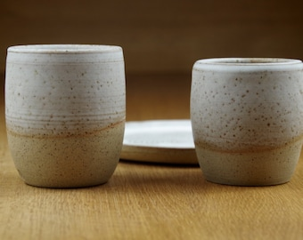 Set of Two Ceramic Tumblers & a Plate Handmade in Stoneware, Handless Pottery Mugs, White Tea Cups, Ceramic Plate