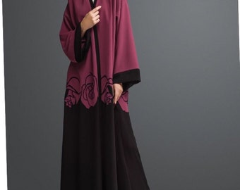 Front open abaya crepe printed made in india maxi caftan dress