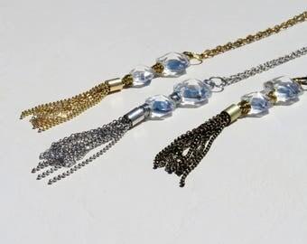 SALE Vintage Chandelier Crystal Tassel Necklace // Silver, Gold, or Bronze Chain Tassel Necklace // Vintage Crystal Prism Necklace
