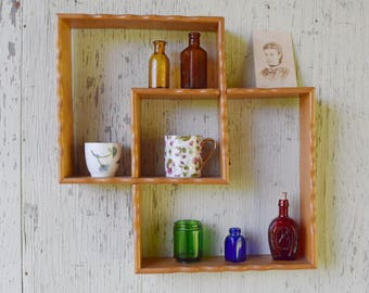 Open Wood Wall Shelf Vintage Wood Hanging Curio Shelf