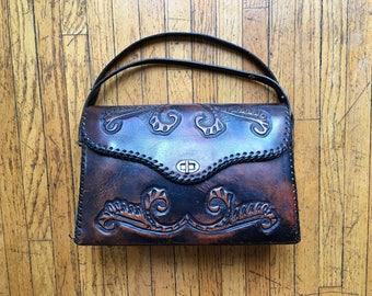 SALE! Gorgeous Large 1950's  Vintage Hand Tooled Leather Handbag, Vintage Handbag