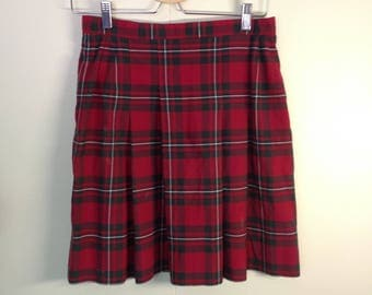 high waisted plaid mini skirt