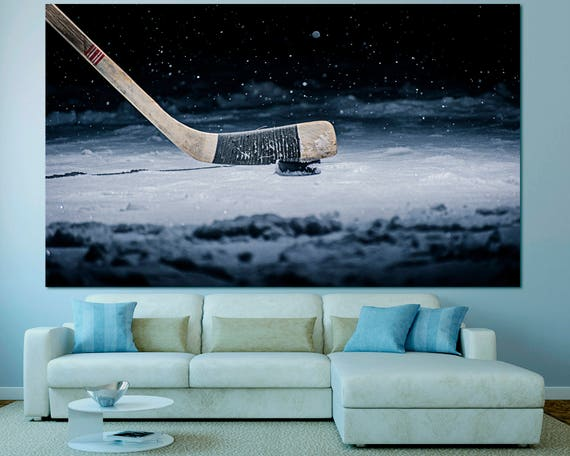 Large Colorful Hockey Wall Art print set of 3 or 5 panels on canvas, Hockey Wall Decor, Hockey Print Sport Photography Home Decor Poster Set