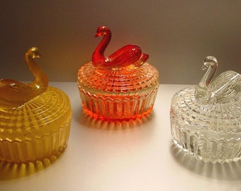 Vintage Jeannette Glass Swan Vanity Jars Powder/Lipstick Set of 3, Crystal, Amber, Marigold