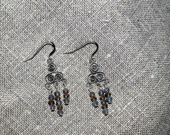 Shiny chandelier earrings with sterling silver parts