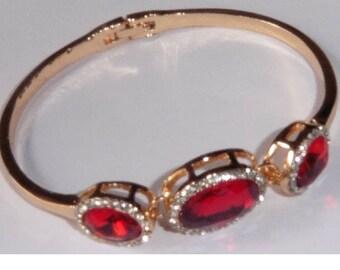 Rose Gold Plated Bracelet Bangle Blood Red Stones Rhinestones