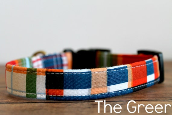"Plaid Dog Collar, Modern Dog Collar, Trendy Dog Collar, Madras, Boy Dog Collar, Buckle Dog Collar ""The Greer"""