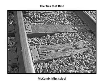 The Ties That Bind  Railroad Trains Engines McComb Mississippi black and white photo note cards